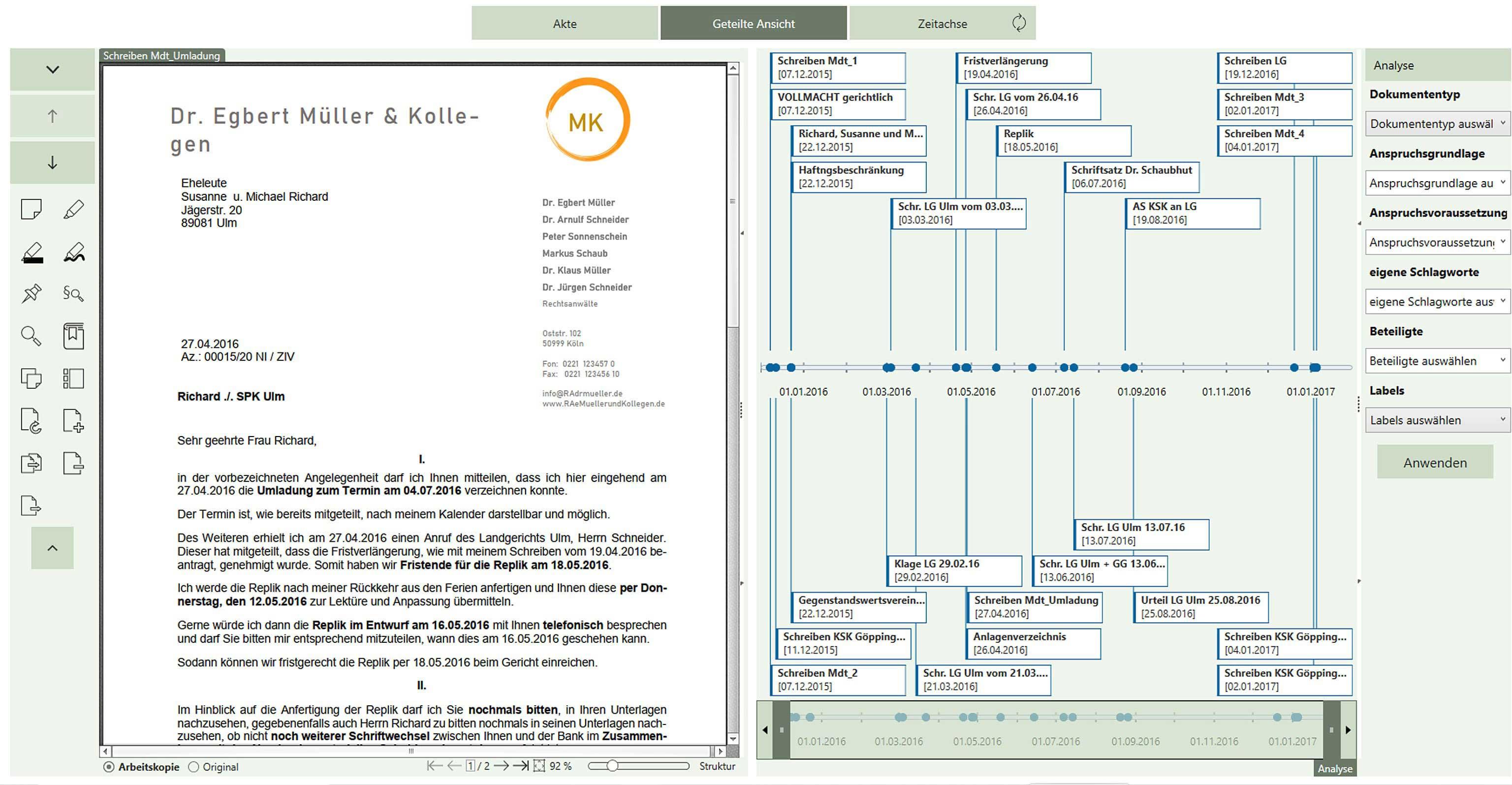 Zeitstrahl der AnNoText smarten AnwaltsAkte erlaubt einfaches Überblicken eines Sachverhaltes
