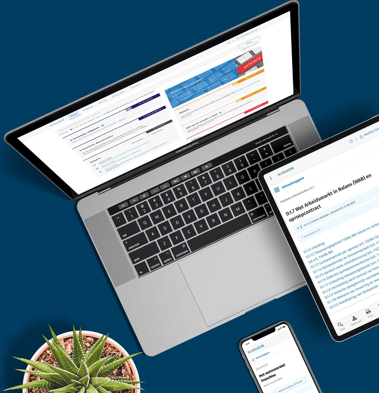 Navigator op de laptop