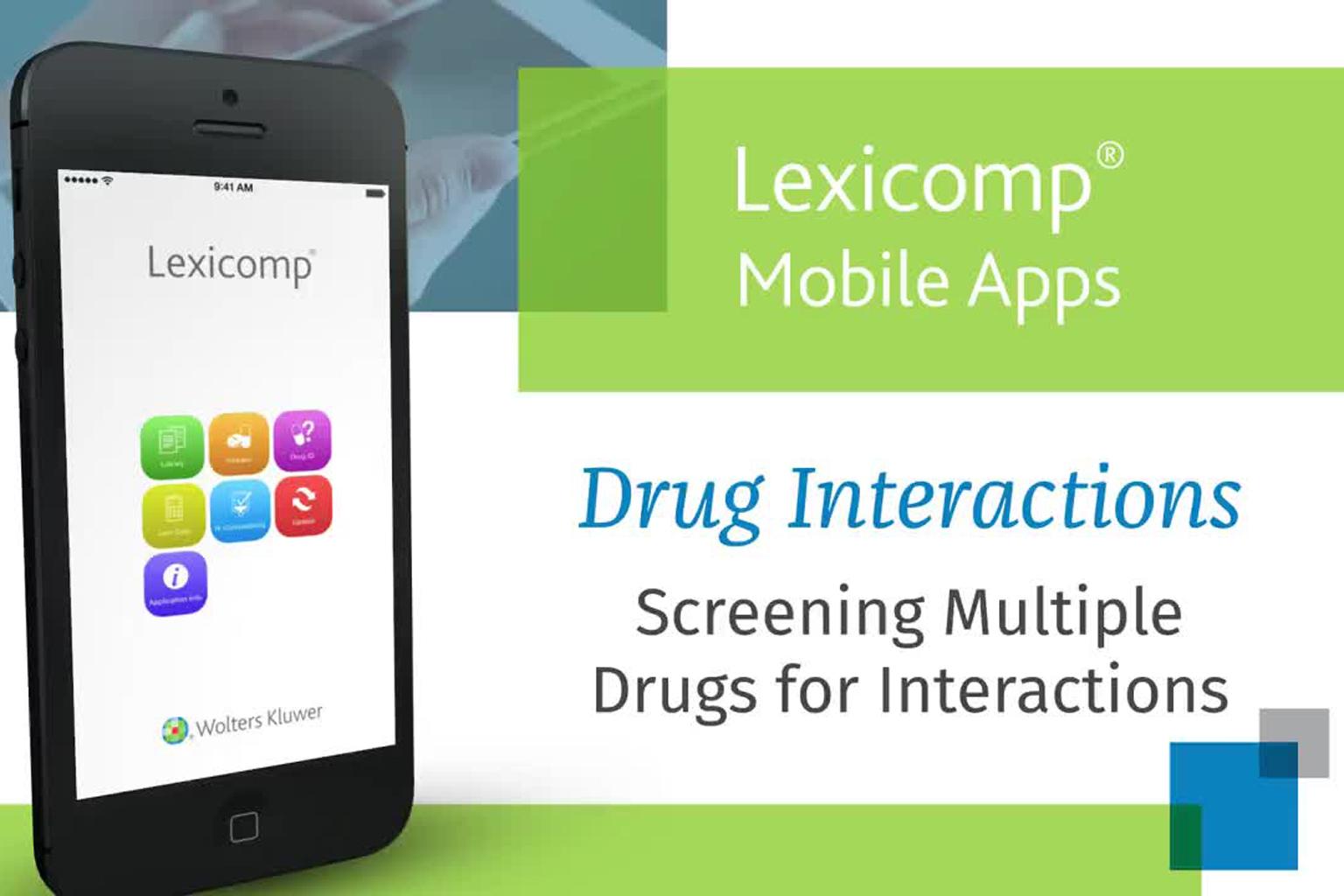 video screen - Lexicomp Mobile App Interactions Checking