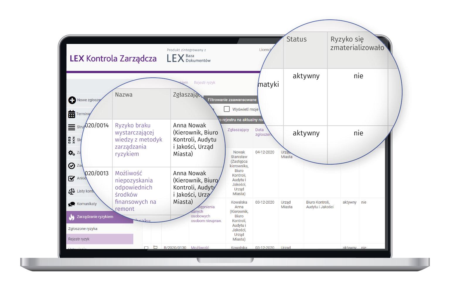Widok programu LEX Kontrola Zarządcza przedstawiający rejestr ryzykaa