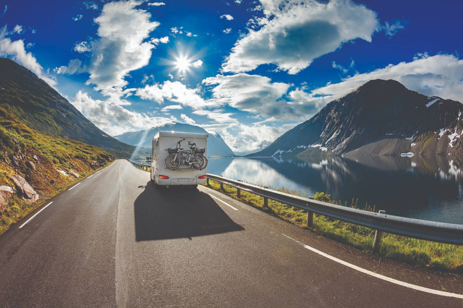An RV driving own a road