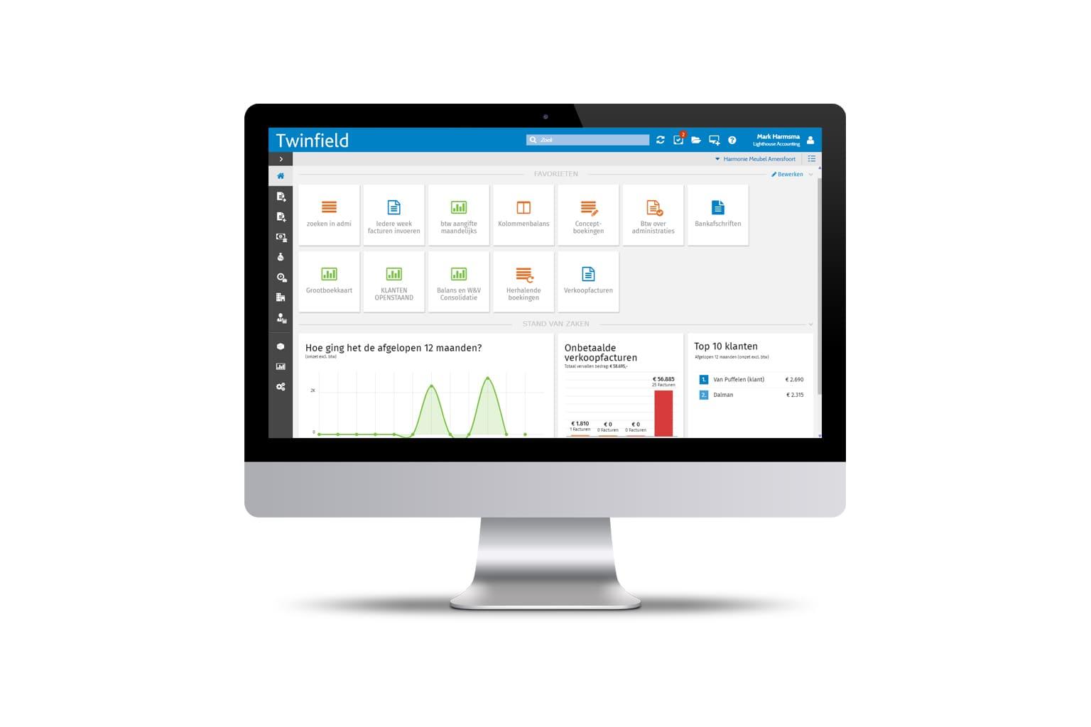 Scherm van software accountancy Twinfield Boekhouden op iMac beeldscherm