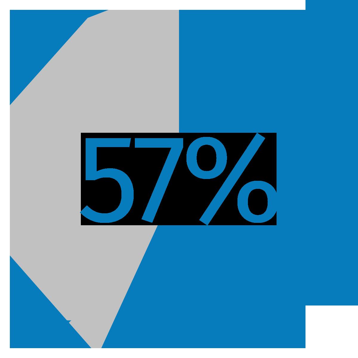 Percentage pie showing 57%
