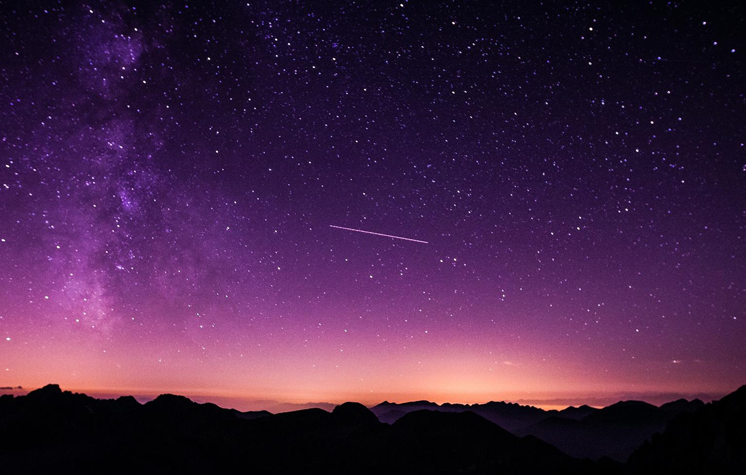 Overexposed night sky right before sunrise