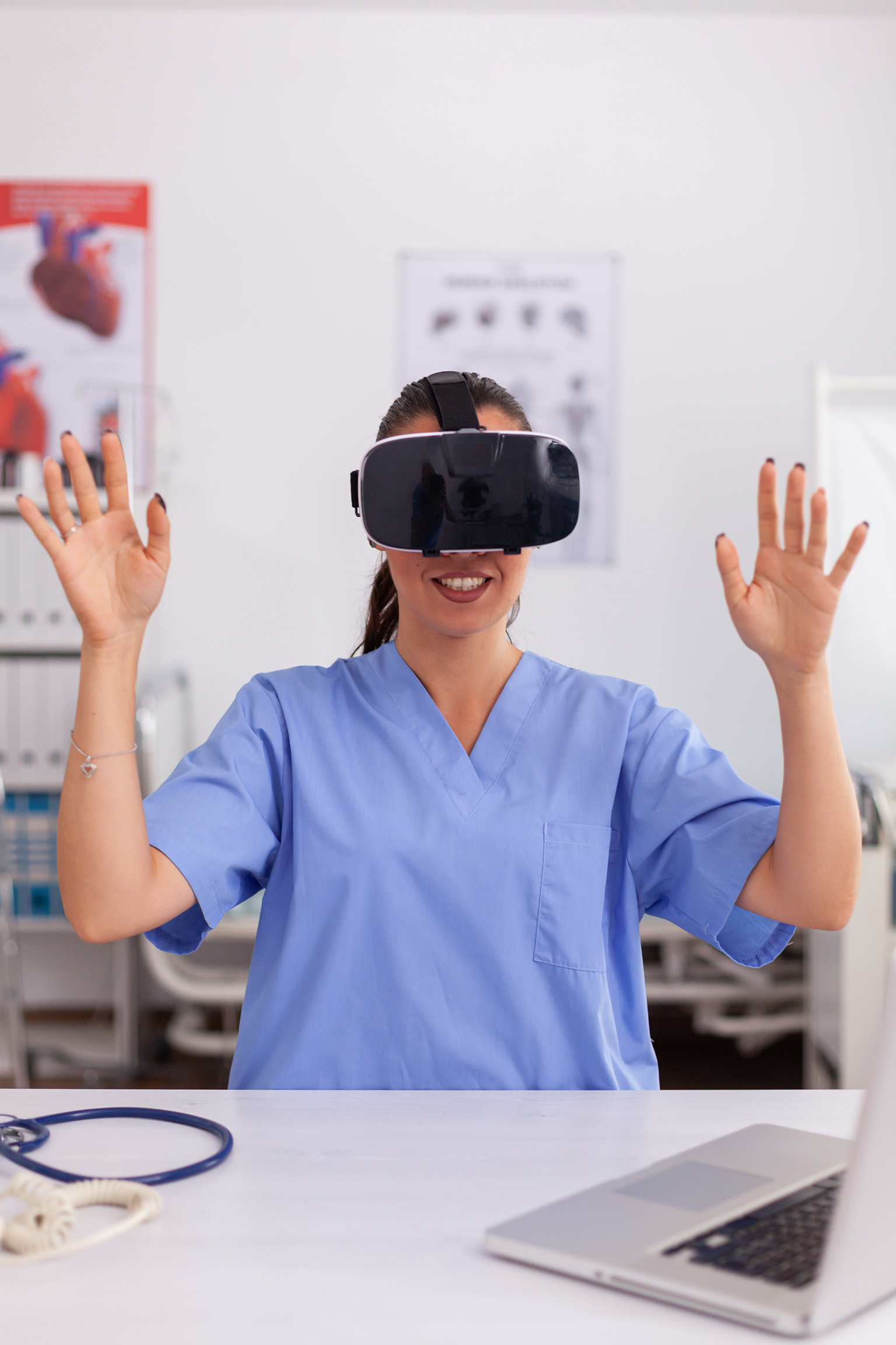 Medical nurse experiencing virtual reality using VR goggles in hospital office