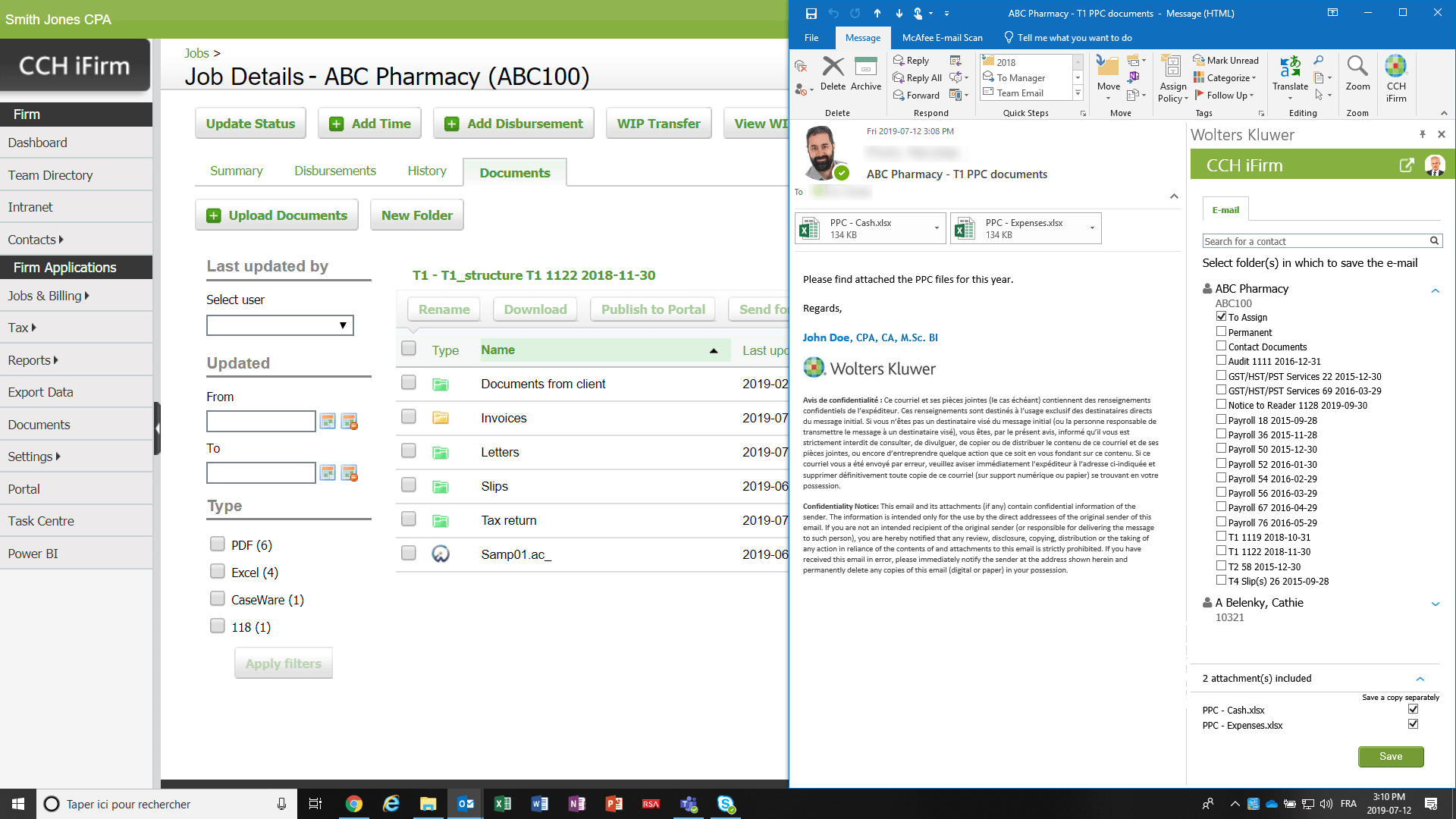 screenshot of cch ifirm documents