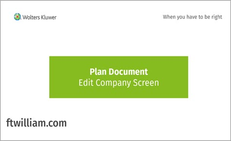 Plan Document - Edit Company Screen