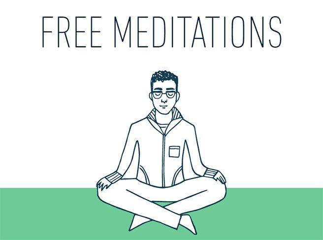 Illustration of person meditating under the words free meditations, borrowed from stopbreathethink.com/meditations