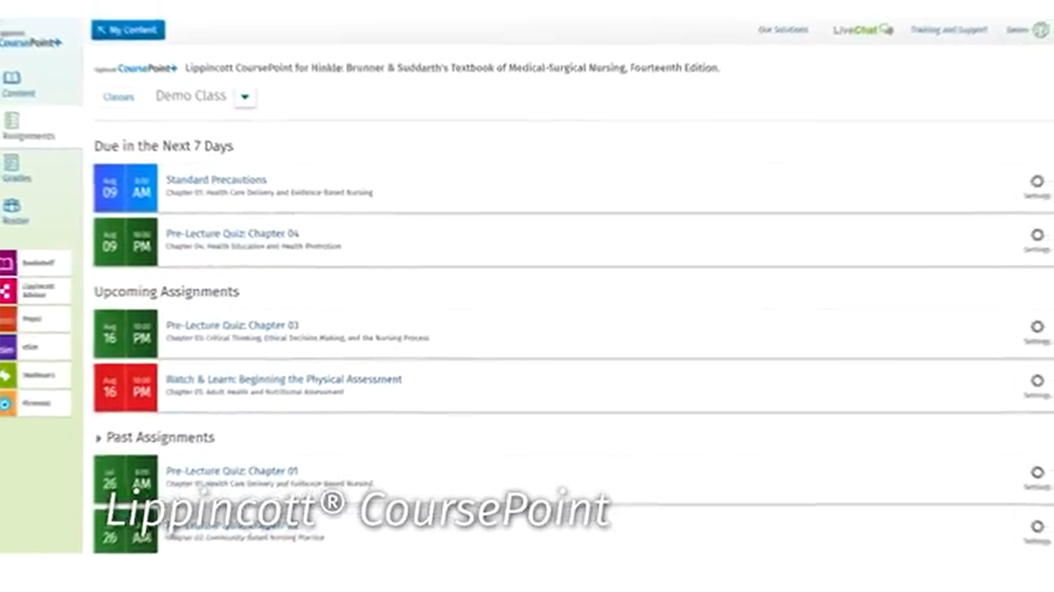 Screenshot from Lippincott CoursePoint sizzle video