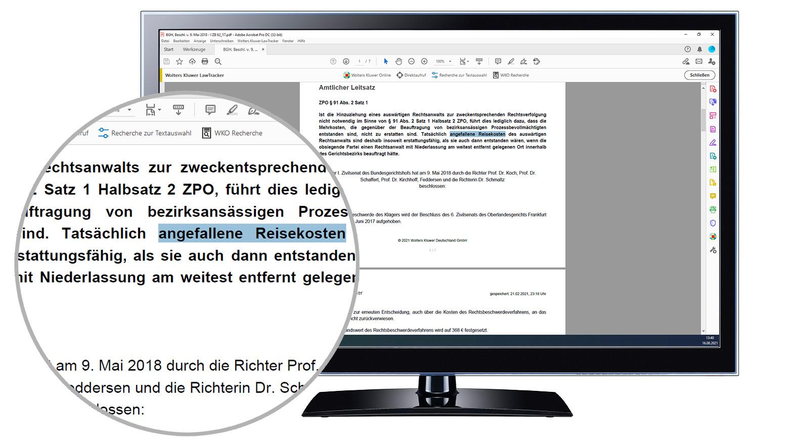 LawTracker Recherche zur Textauswahl