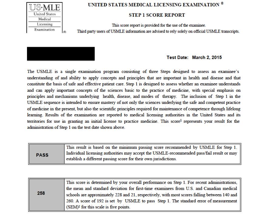 USMLE score explanation
