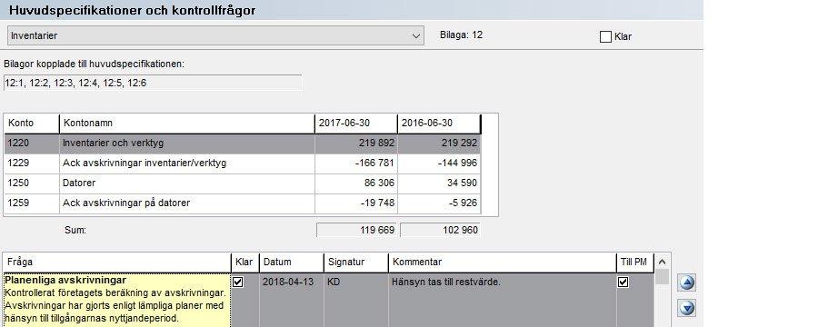 Skärmdump Huvudspecifikationer och kontrollfrågor
