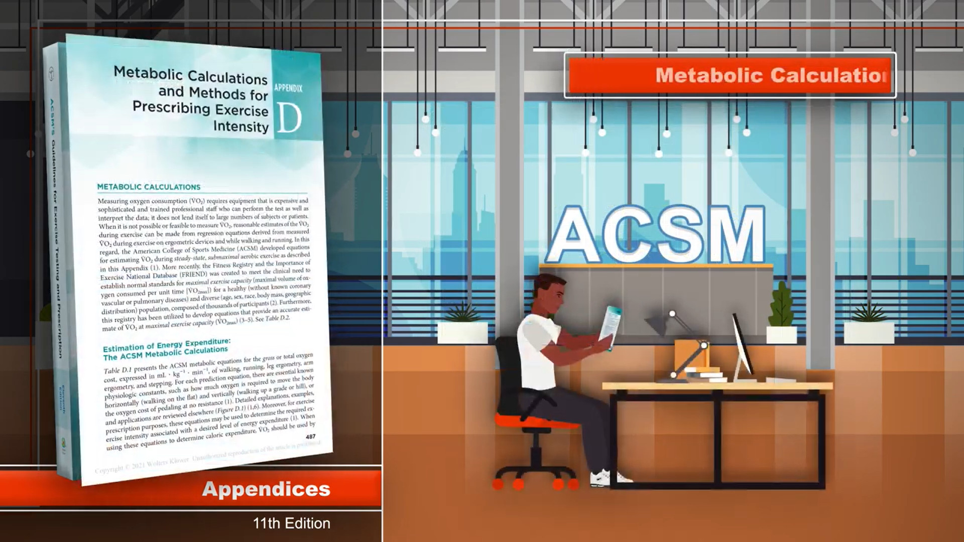 Screenshot of Appendices updates to ACSM's Guidelines for Exercise Testing and Prescription, 11th Edition video