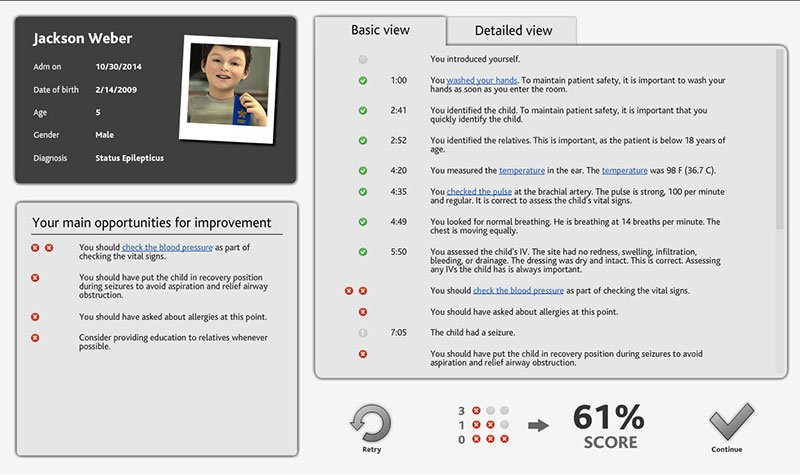 Screenshot of a mock patient record in vSim for Nursing