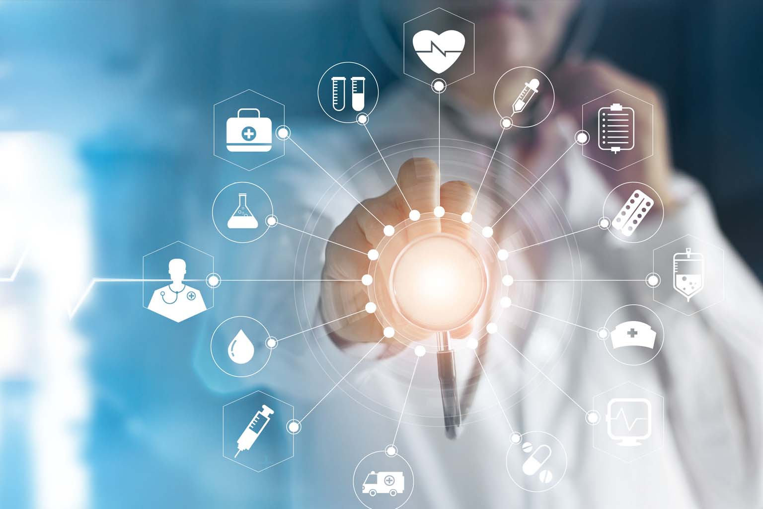 doctor touching icon medical network connection with  virtual screen interface