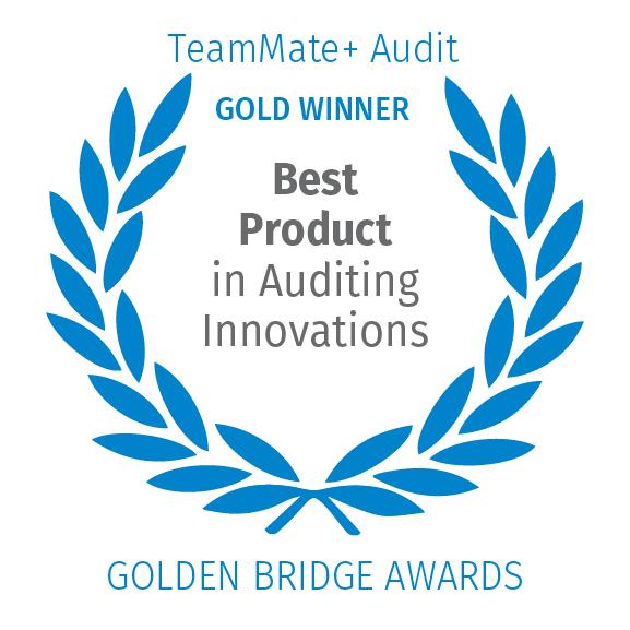 TeamMate+ Audit, Gold Winner, Best Product in Auditing Innovations, Golden Bridge Awards