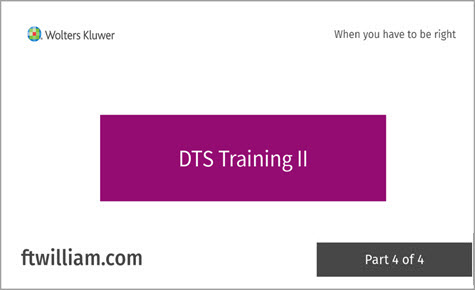 DTS Training II - Part 4 of 4