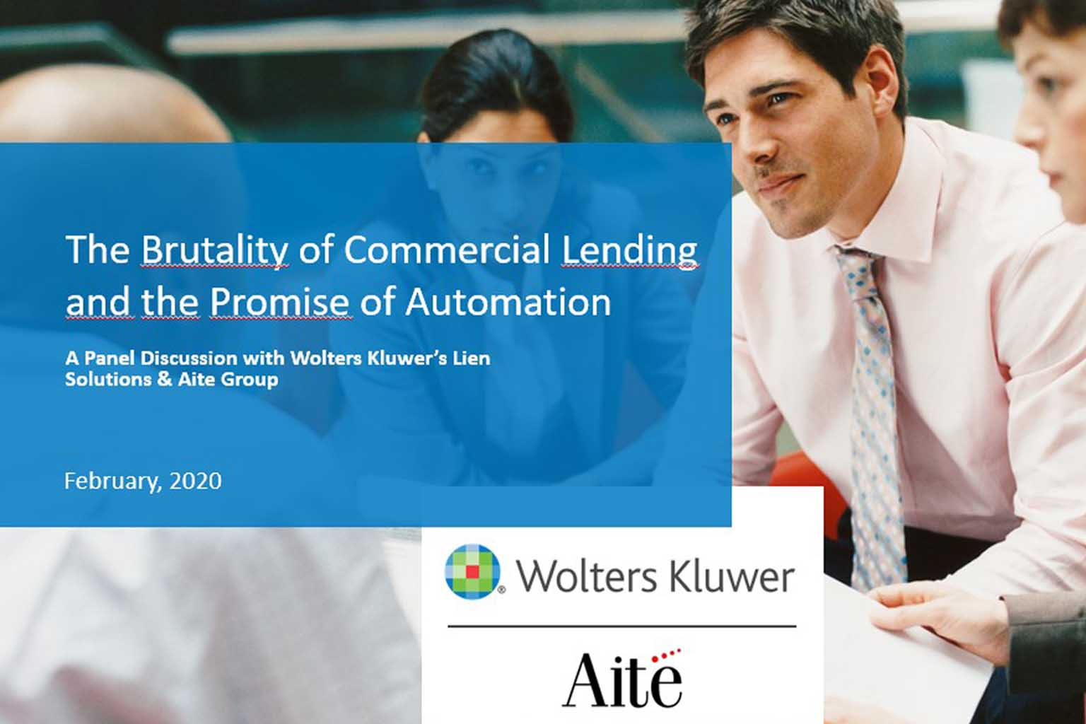 webinar  title card image for The Brutality of Commercial Lending and the Promise of Automation
