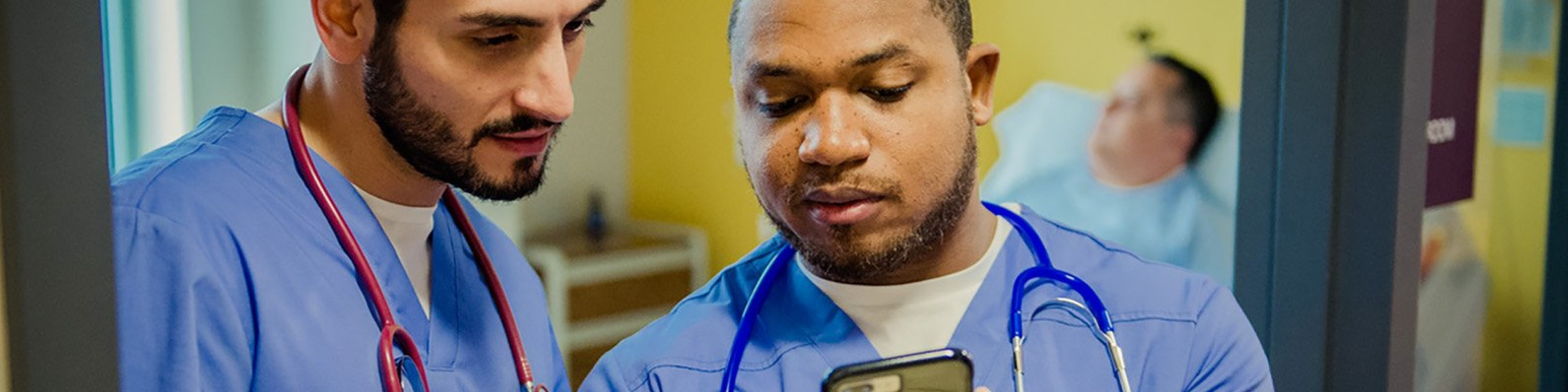 Doctors sharing information using a mobile device