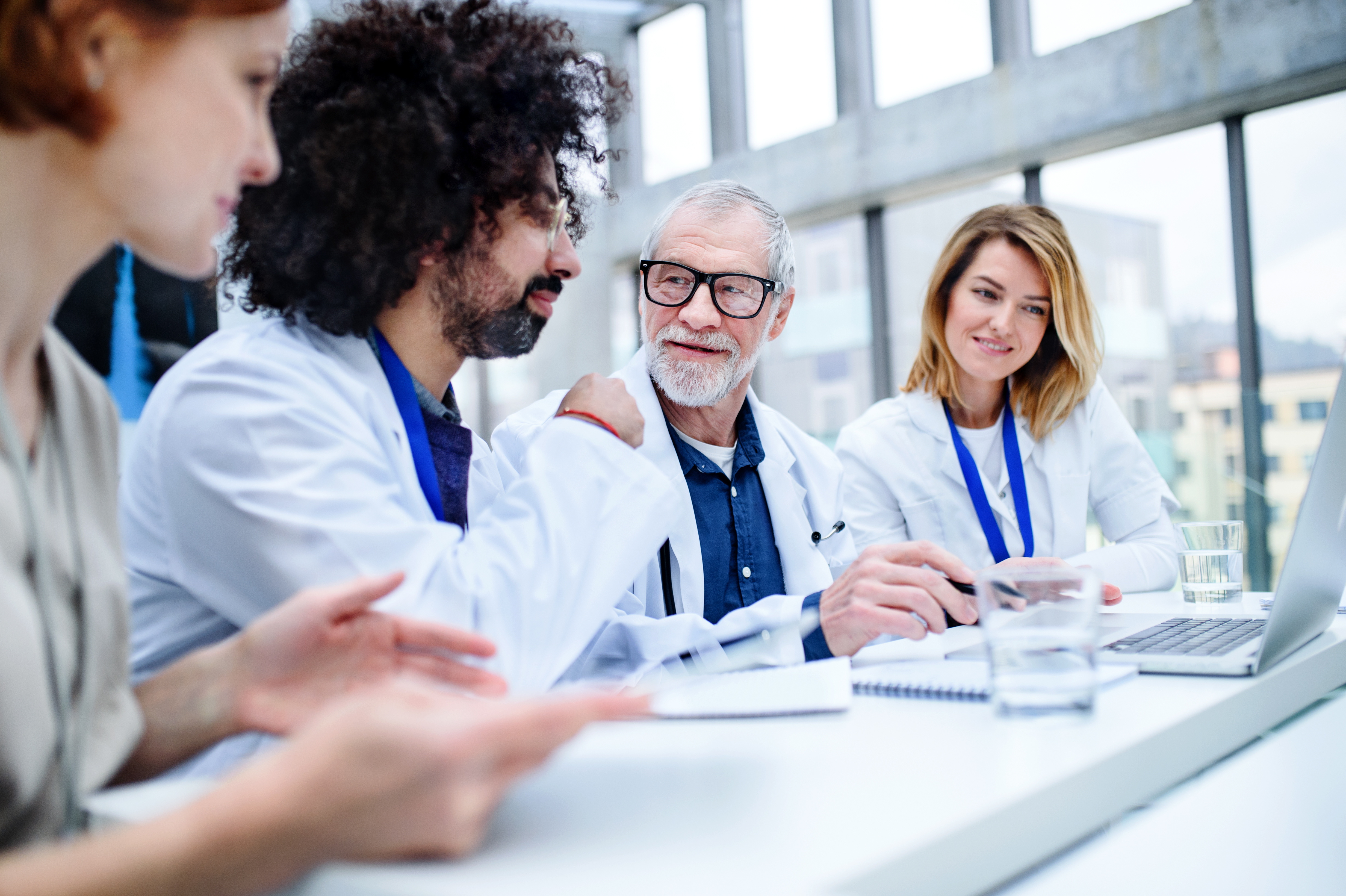 Clinicians working together to analyze results of the hospitals' program
