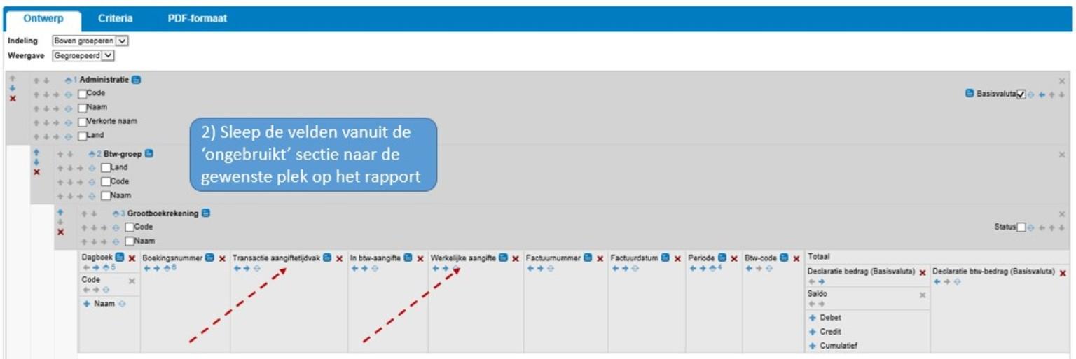 Screenshot van elektronische belastingaangifte vanuit Twinfield