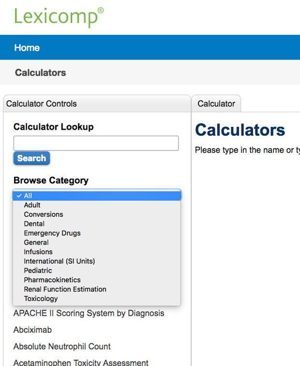 Lexicomp Calculators