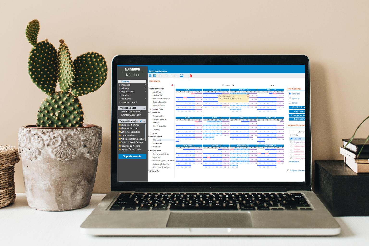 calendario gestión turnos y nóminas