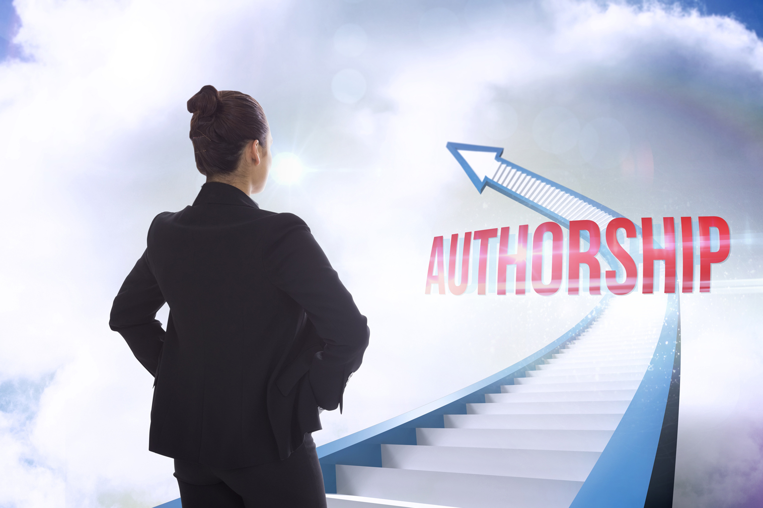 Woman looking at steps leading up into an arrow pointing to the left with the word authorship up the steps