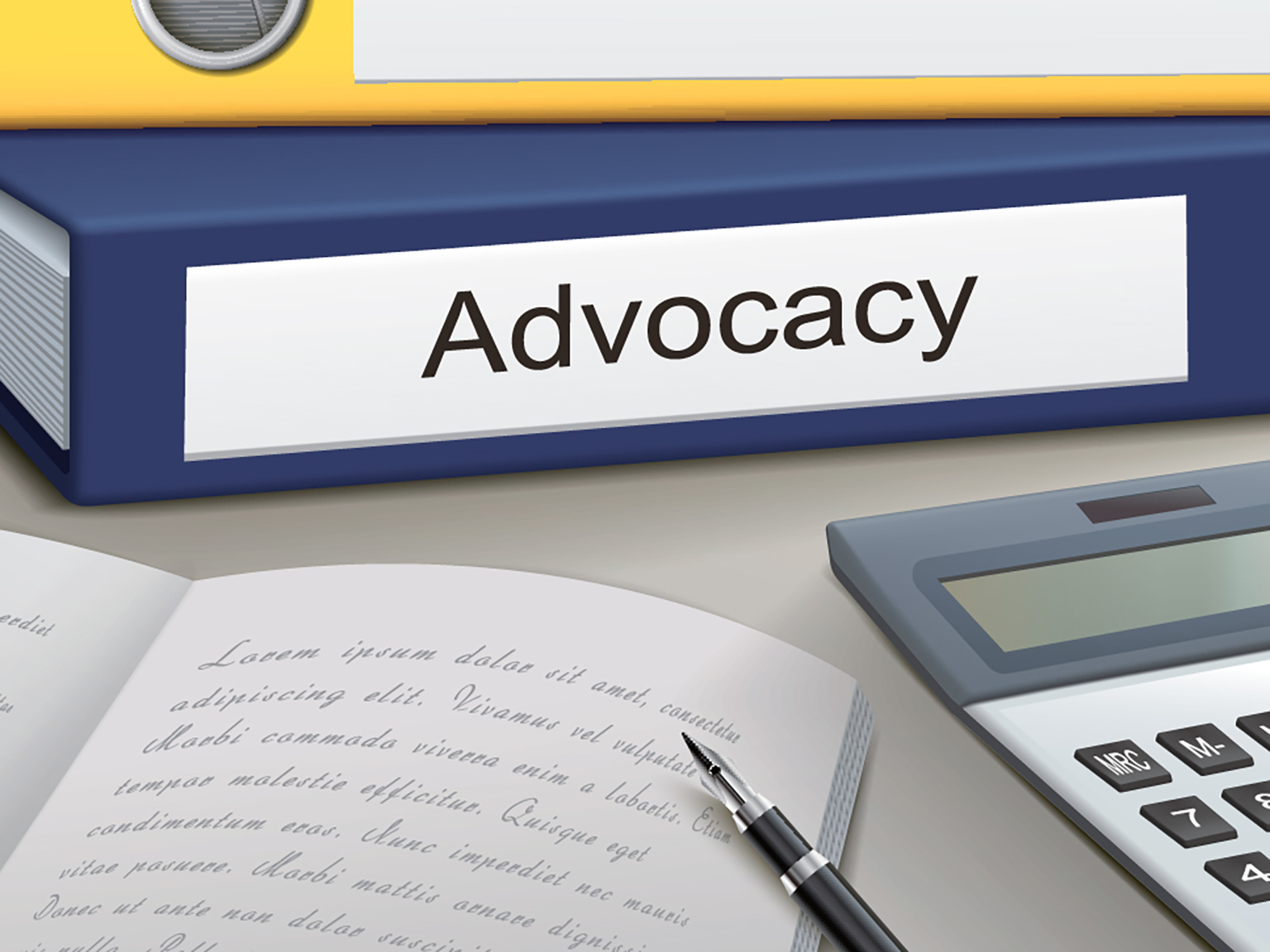 Illustration of advocacy binders, notebook, pen, and calculator