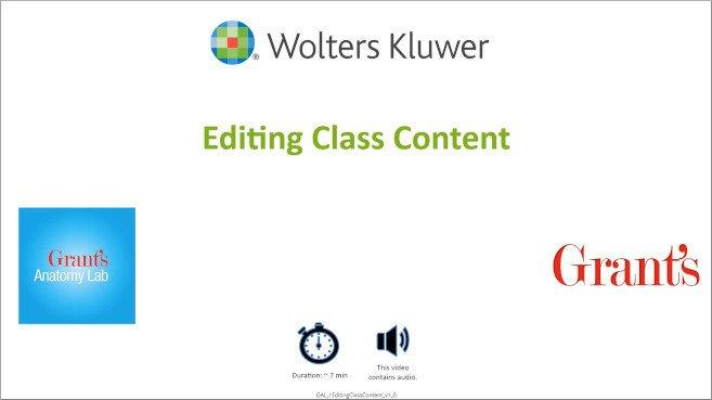 Grant's Anatomy Lab: Editing Class Content