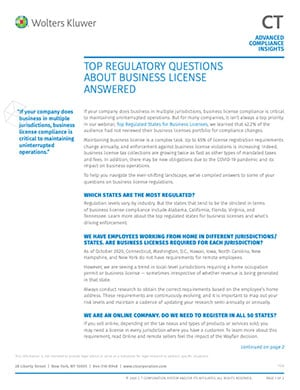 Top 5 regulatory questions about business licenses answered