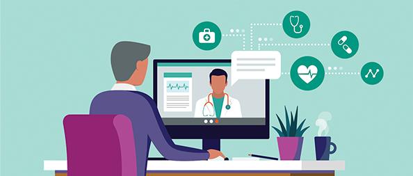 Illustration of a telemedicine visit