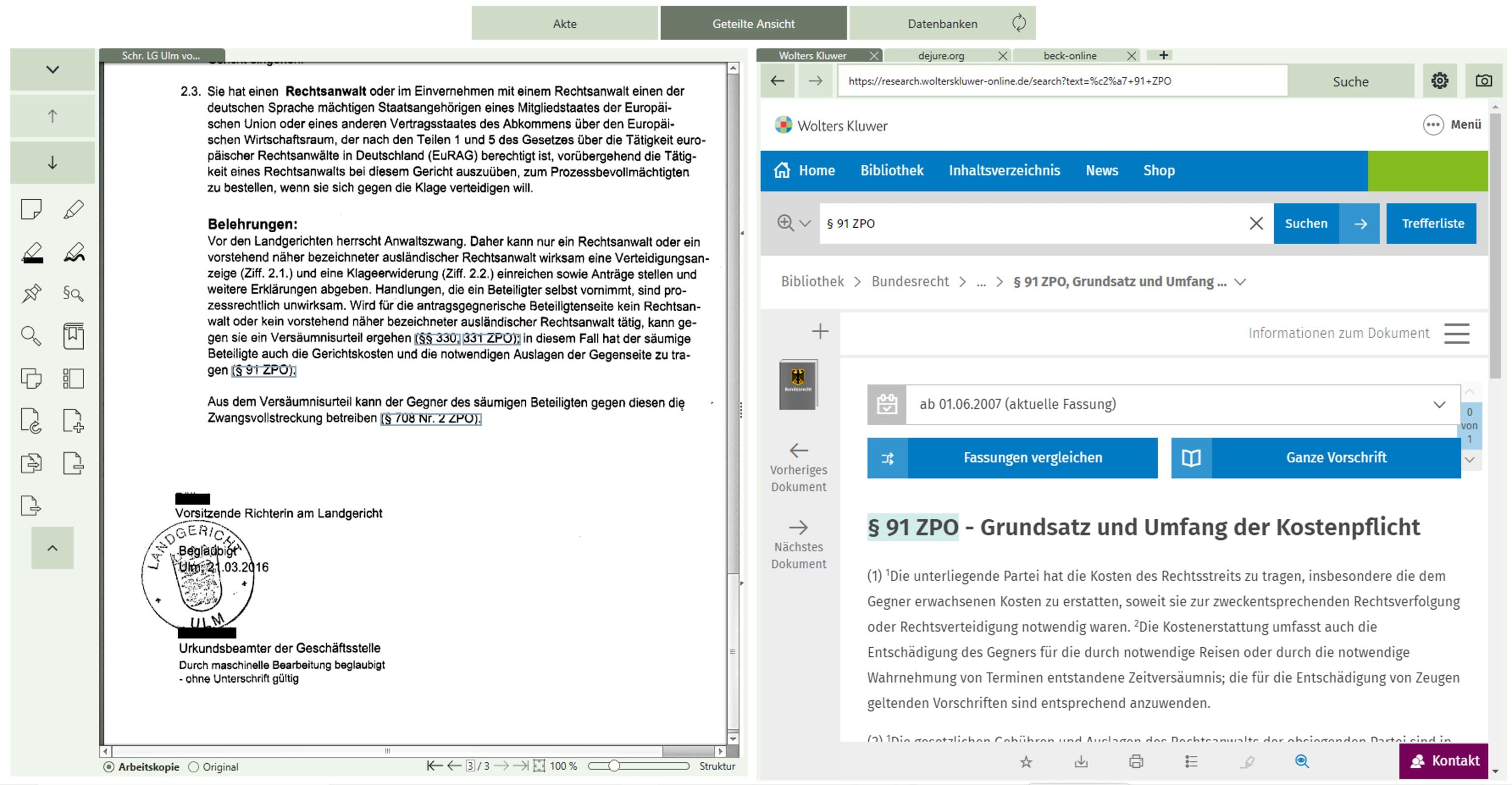 Die smarte AnwaltsAkte von AnNoText durchsucht Dokumente in sekundenschnelle nach Rechtsquellen und verlinkt diese automatisch.
