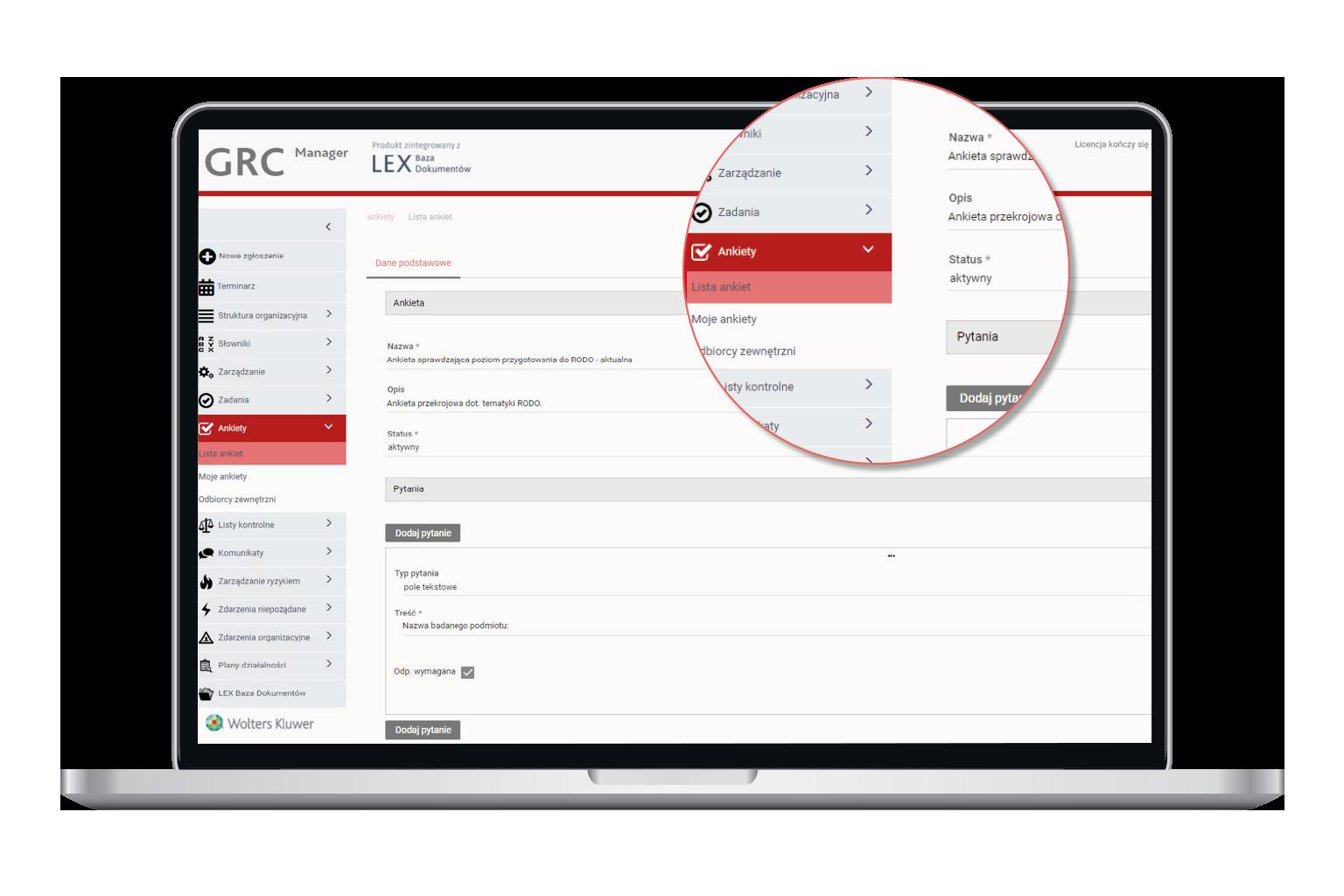 Ankietowanie w oprogramowaniu GRC Manager